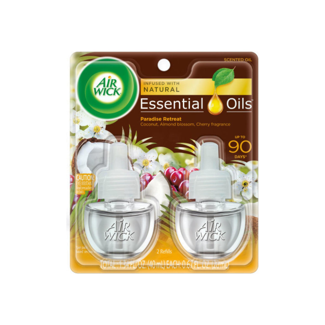 Air Wick Scented Oil Twin Refill Life Scents Paradise Retreat (Coconut/Almond Blossom/Cherry) 2 ea