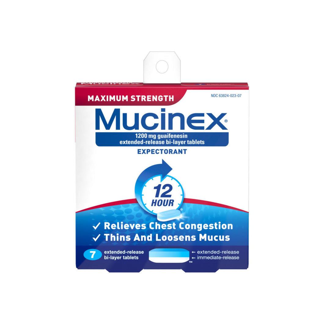 Mucinex 12 Hr Max Strength Chest Congestion Expectorant Tablets 7 ea