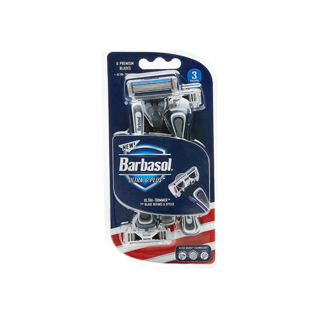 Barbasol Ultra 6 Plus Premium Disposable Razor 3 ea