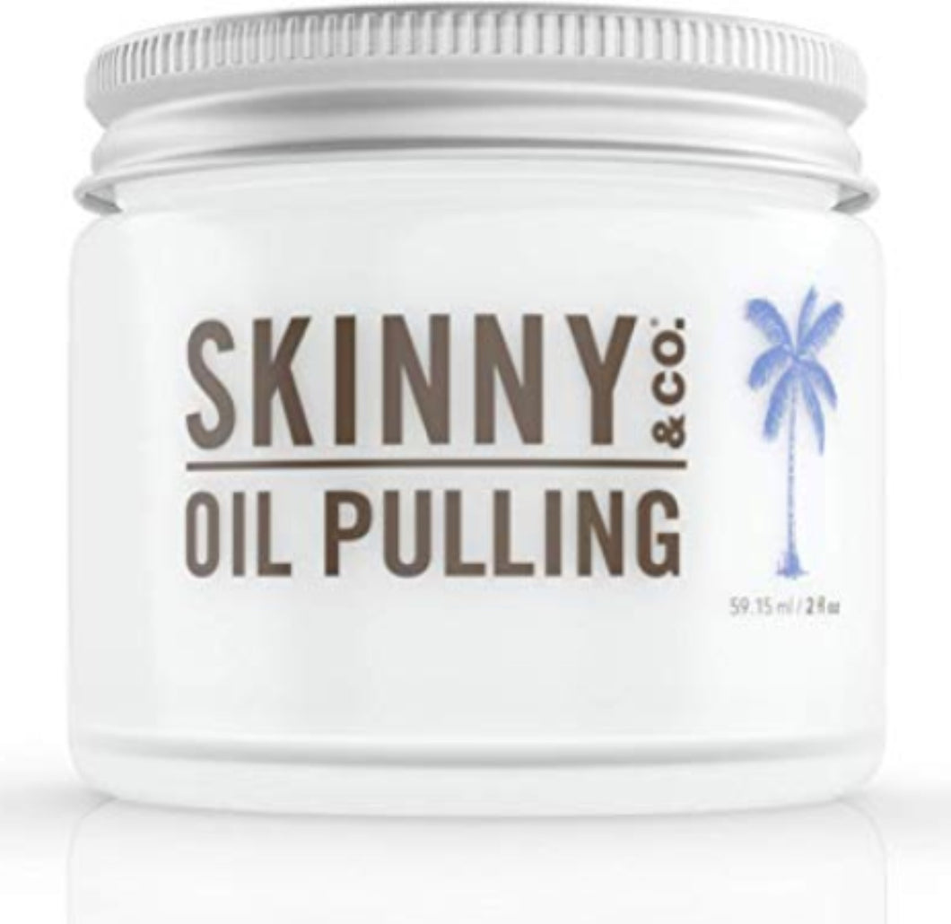 SKINNY & CO. Peppermint Oil Pulling Coconut Oil- 100% Chemical Free - 2 oz.