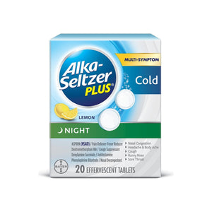 Alka-Seltzer Plus Night Cold Effervescent, Lemon 20 ea