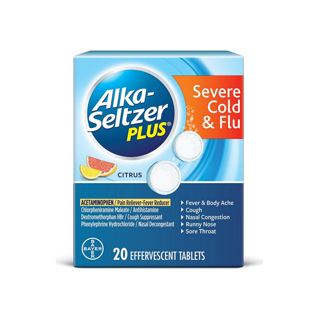 Alka-Seltzer Plus Severe Cold & Flu Citrus Effervescent Tablets With Pain Reliever/Fever Reducer 20 ea