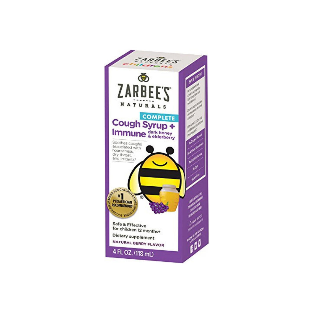 ZarBee's Naturals  Children's Complete Daytime Cough Syrup + Immune with Dark Honey & Elderberry, Natural Berry Flavor 4 oz