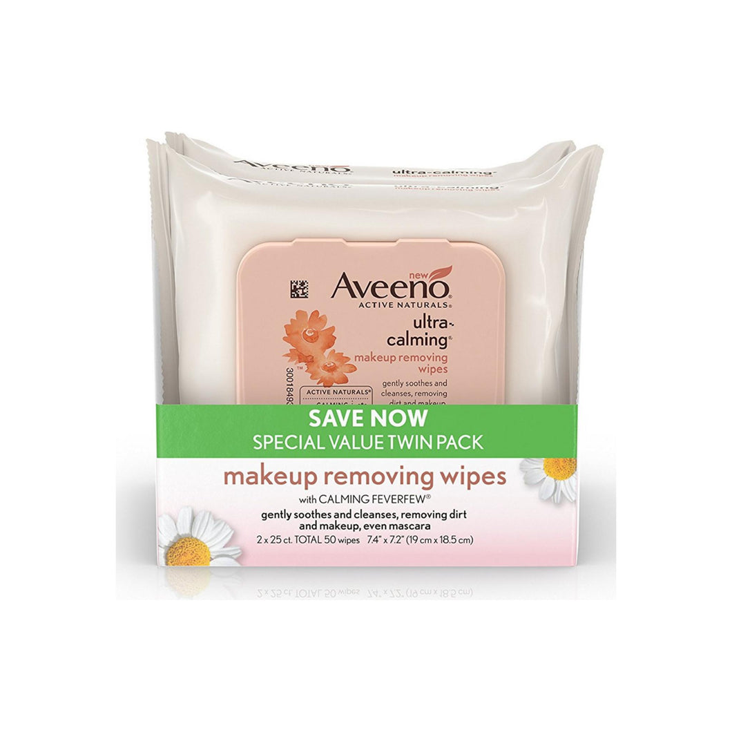 AVEENO Ultra-Calming  Makeup Removing Wipes for Sensitive Skin, Twin Pack 50 ea