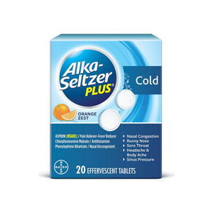 Alka-Seltzer Plus Cold Medicine, Effervescent Tablets With Pain Reliever/Fever Reducer, Orange Zest 20 ea [016500564980]