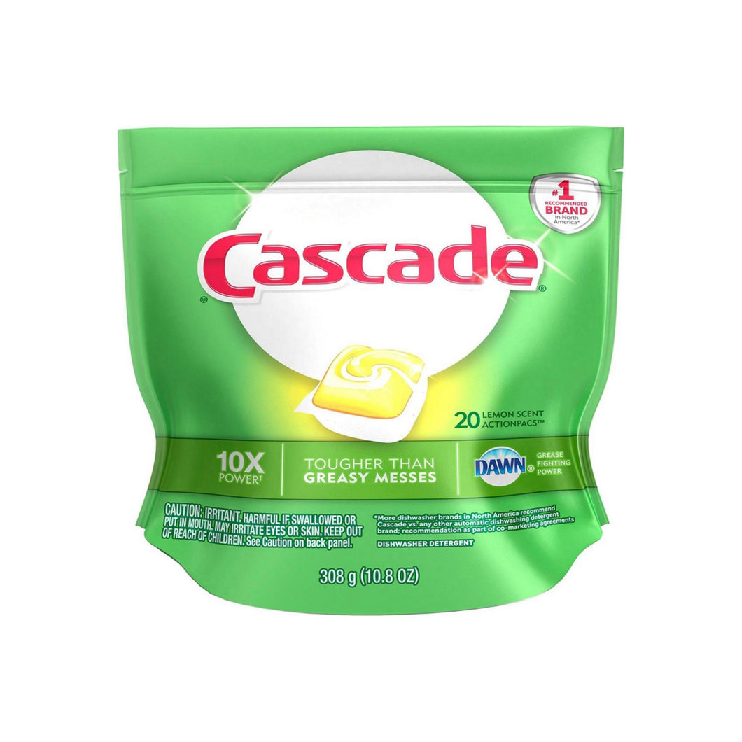 Cascade Actionpacs Dishwasher Detergent, Lemon Scent 20 ea