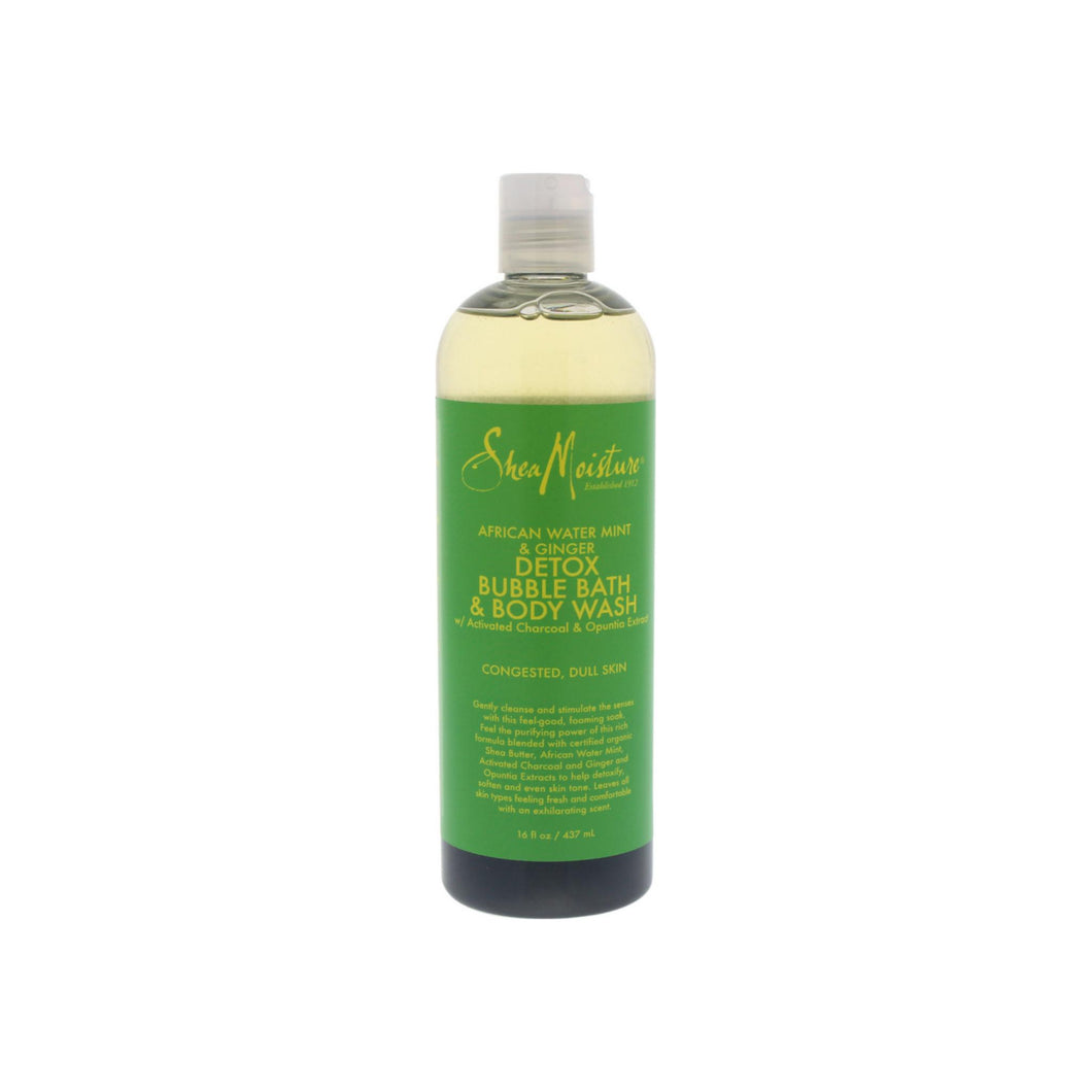 Shea Moisture African Water Mint & Ginger Detox Bubble Bath & Body Wash 16 oz