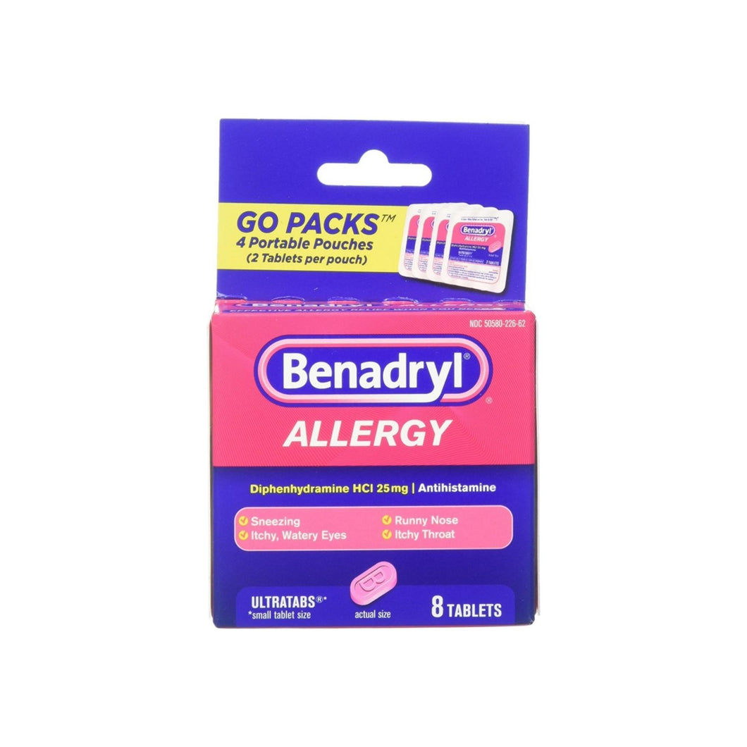 Benadryl Allergy Ultratabs Tablets, Go Packs 8 ea