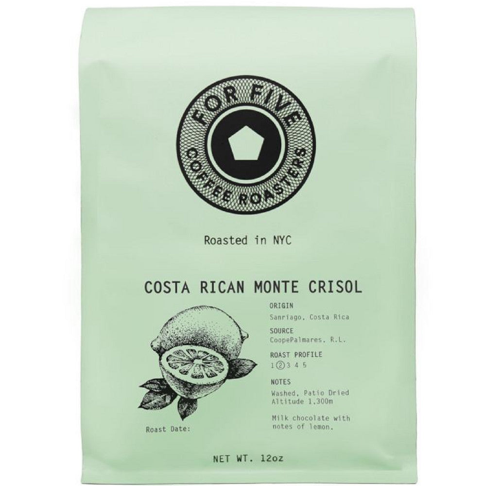 For Five Coffee Roasters Costa Rica Monte Crisol Light Roast (Origin:Sanriago, Costa Rica), Ground 12 oz