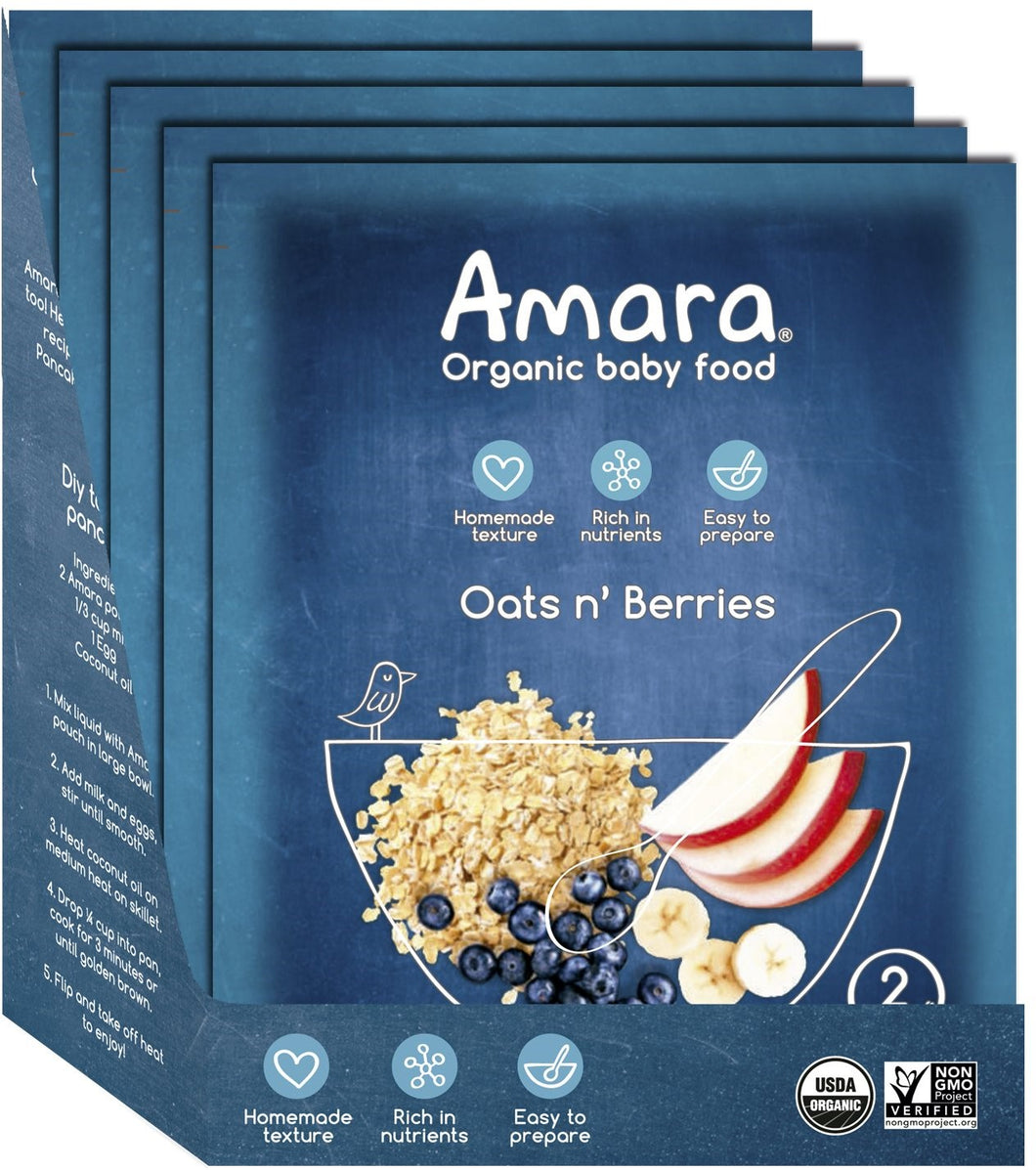 Amara Baby Food, Oats and Berries, Organic Fruits and Cereals - Stage 2 (5 pouches)