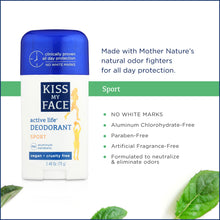 Load image into Gallery viewer, Kiss My Face Sport Active Life Deodorant Stick, , 2.48oz, 1pc