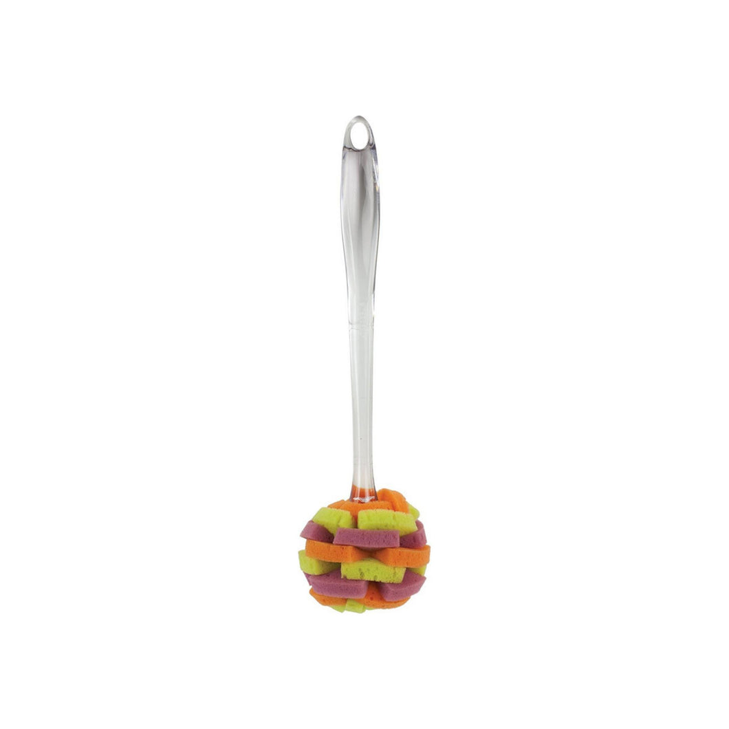 Casabella Clear Sponge Brush, Plum/Lime/Orange Multicolor 1 ea