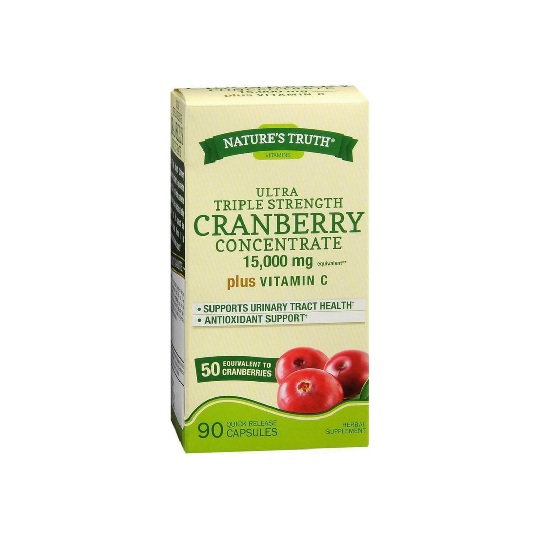 Nature's Truth Triple Strength Cranberry Concentrate 15000 mg Plus Vitamin C Capsules 90 ea