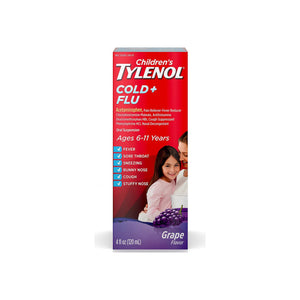 TYLENOL Children's Cold + Flu Oral Suspension, Grape 4 oz