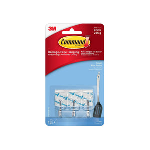 Command Small Clear Wire Hooks with Clear Strips, 3 ea