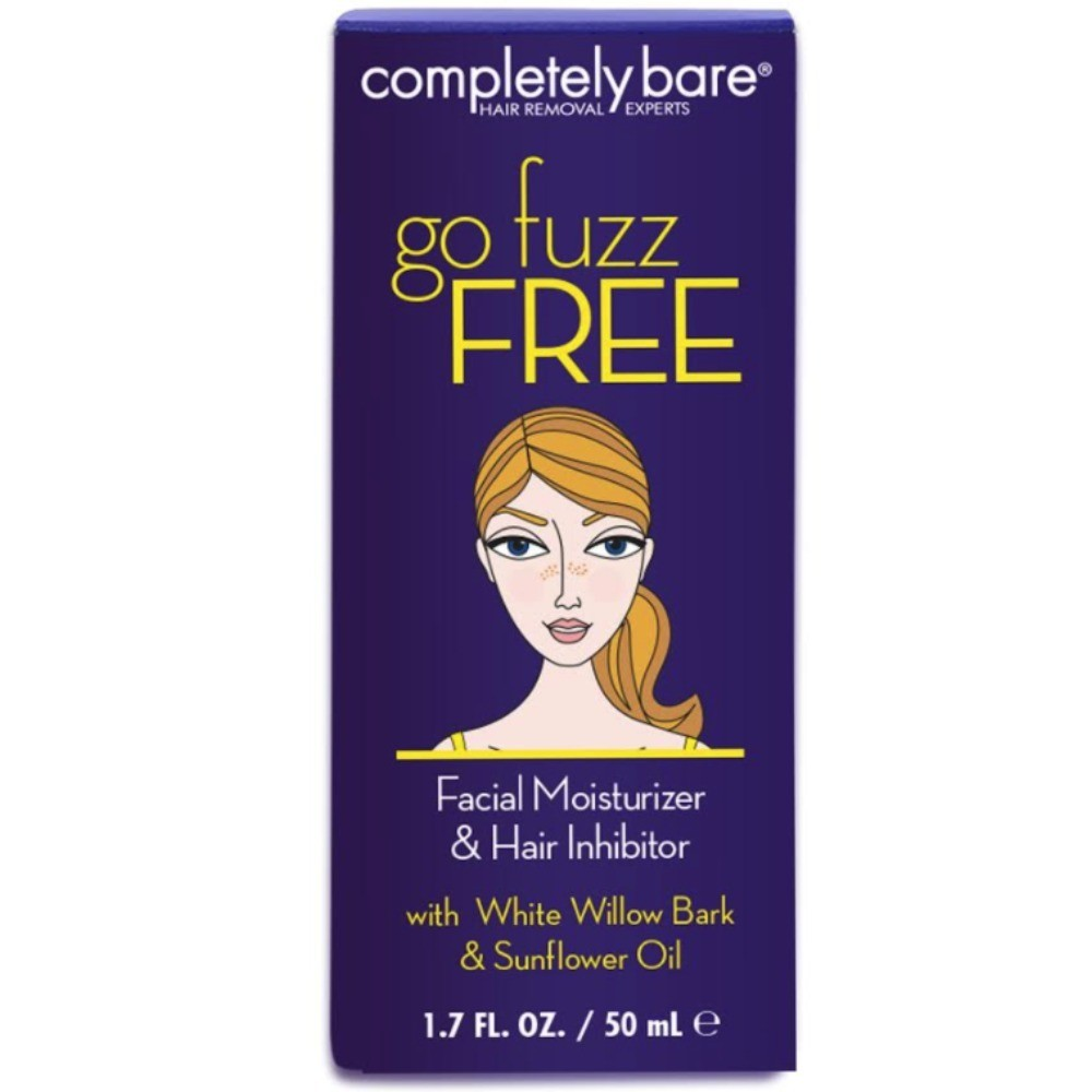 Completely Bare go fuzz FREE Facial Moisturizer & Hair Inhibitor with White Willow Bark & Sunflower Oil to Reduce Hair Growth & Prolong the Effects of Hair Removal, 1.7 oz