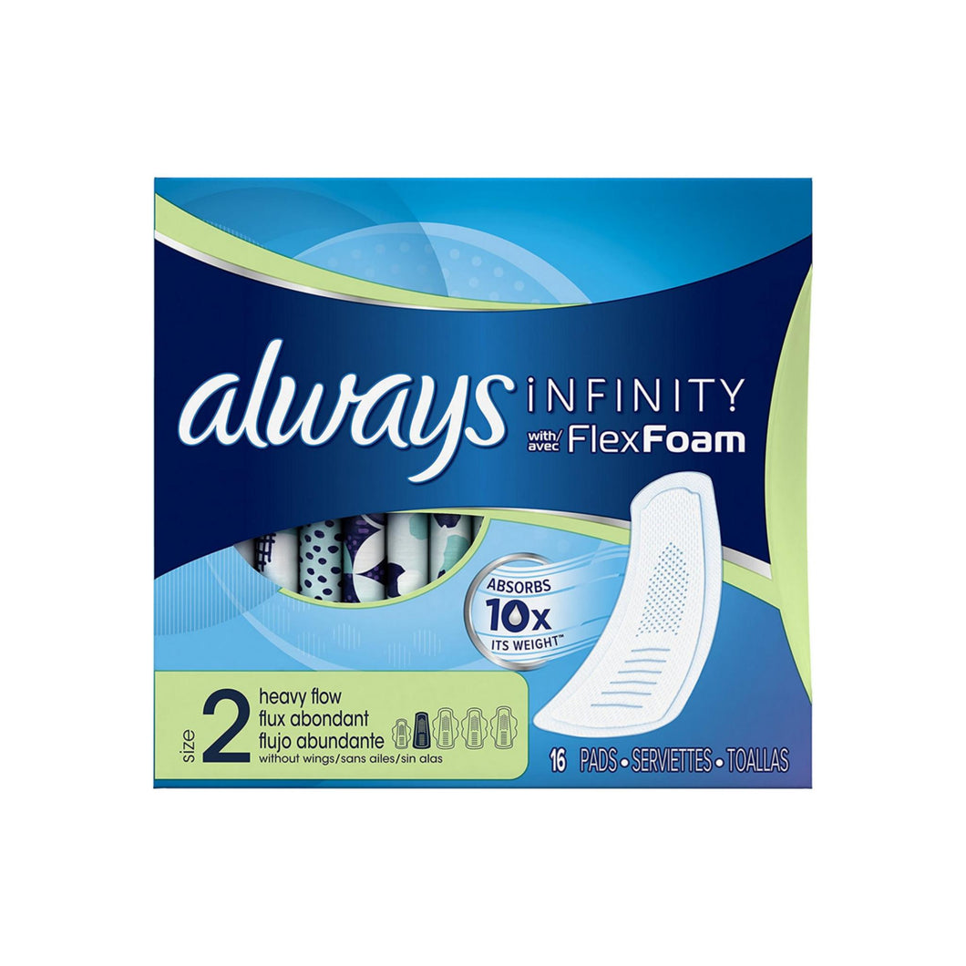 Always Infinity Pads without Wings Heavy Flow 16 ea