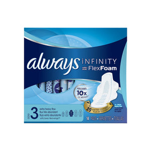Always Infinity Extra Heavy Pads with Flexi-Wings, Size 3, Unscented 14 ea