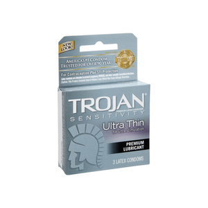 TROJAN Sensitivity Ultra Thin Lubricated Premium Latex Condoms 3 ea