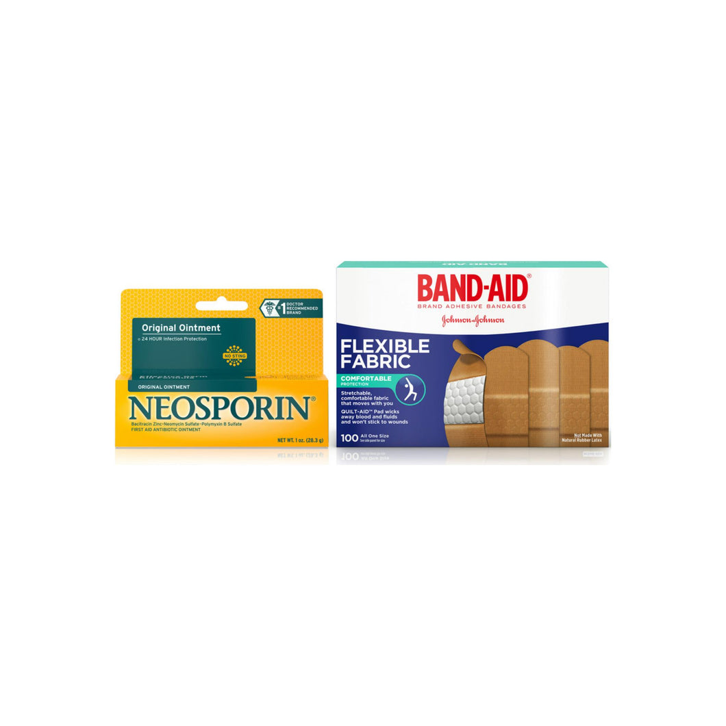 Band Aid Brand Flexible Fabric Adhesive Bandages For Minor Wound Care 100 ea & Neosporin Original Ointment for 24-Hour Infection Protection 1 oz 1 ea