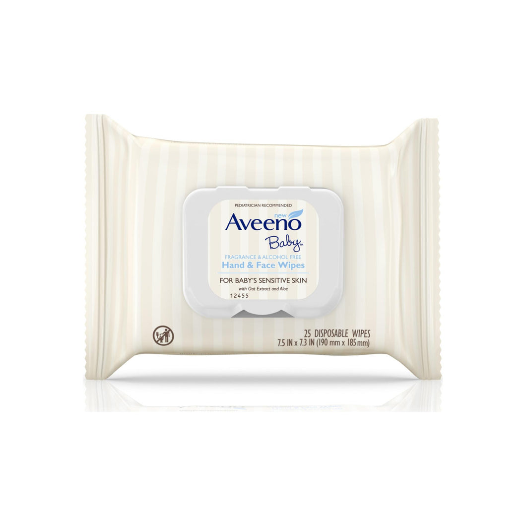 AVEENO Hand & Face Baby Wipes with Oat Extract  25 ea [381371179879]
