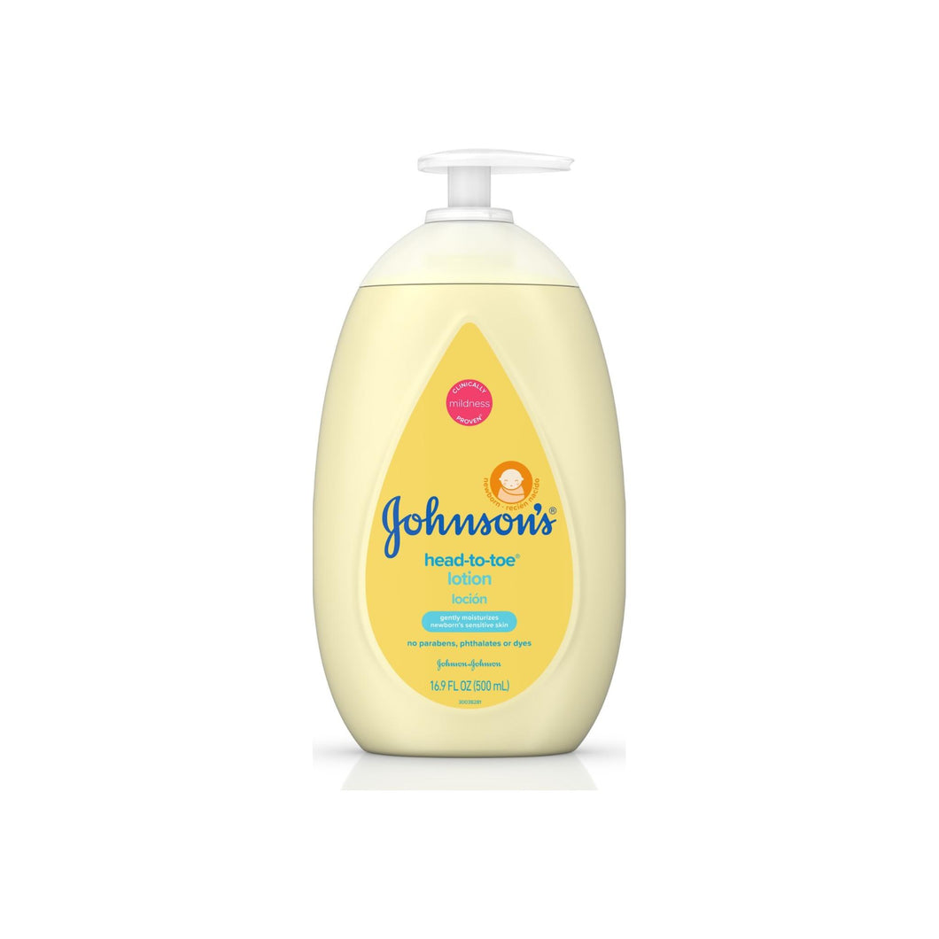 JOHNSON'S Head To Toe Moisturizing Baby Body Lotion, Hypoallergenic & Paraben Free 16.9 oz