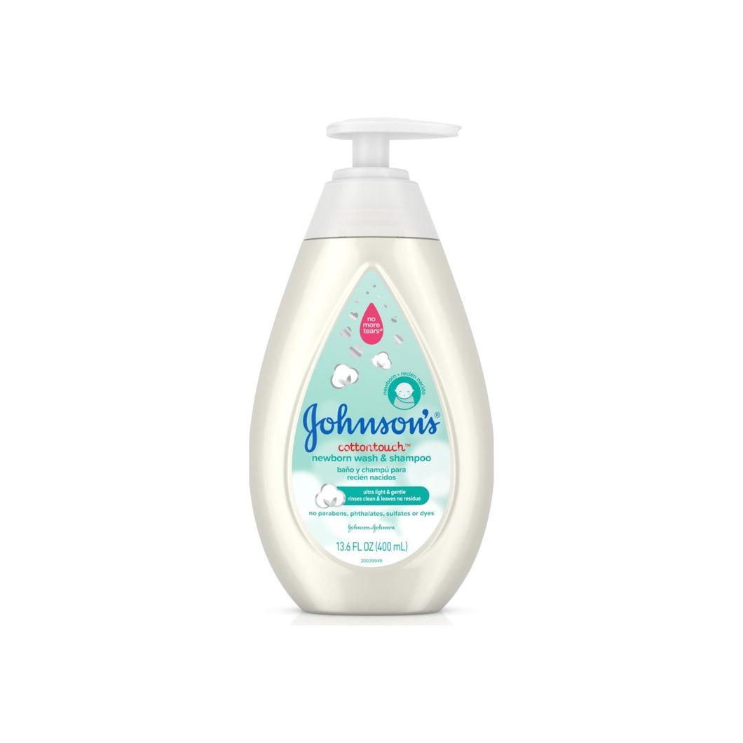 JOHNSON'S Cotton Touch Newborn Baby Wash & Shampoo, Made With Real 13.6 oz