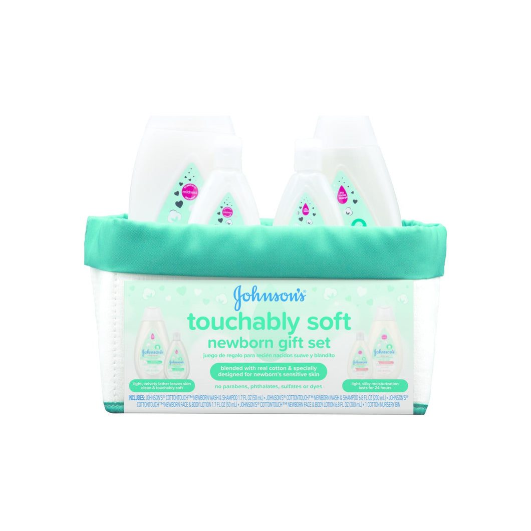 JOHNSON'S Touchably soft Newborn Baby Gift Set, Baby Bath & Skincare for Sensitive Skin, 5 Item