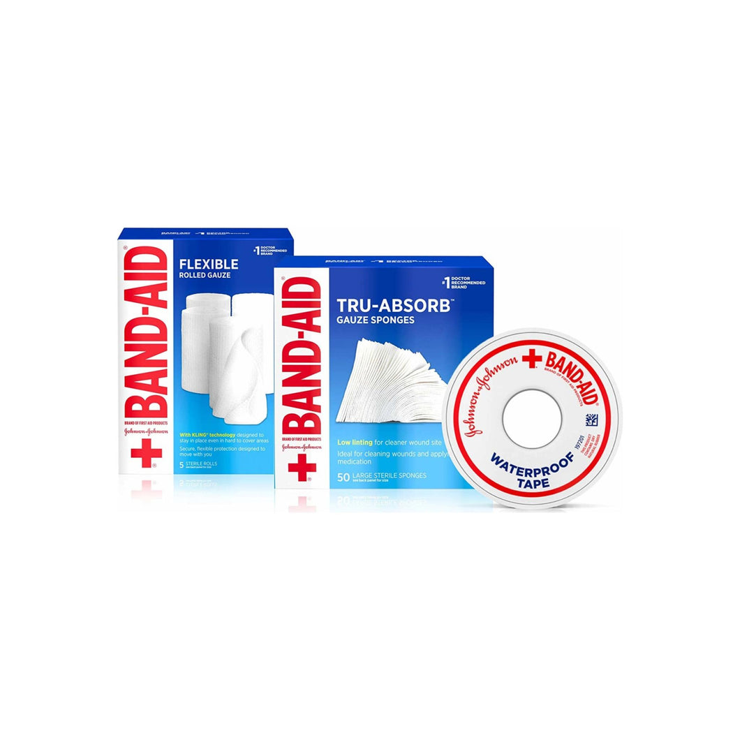 BAND-AID Mirasorb Gauze Sponges 50 ea & Band-Aid Rolled Gauze, Minor Wound Care 5 ea & Band-Aid Waterproof Tape To Secure Bandages 1 ea