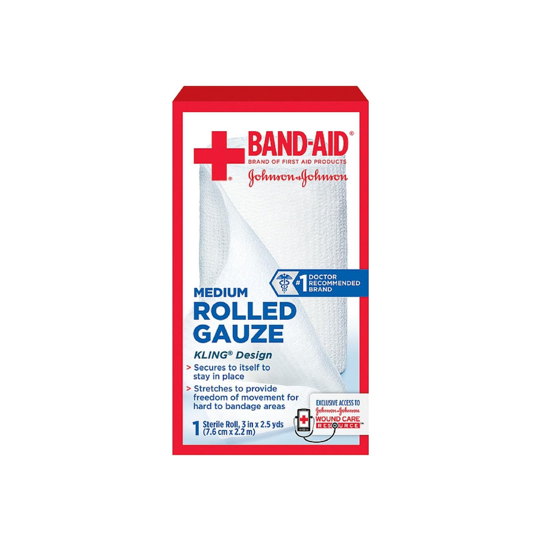 BAND-AID First Aid Rolled Gauze Sterile Roll, Medium 1 ea