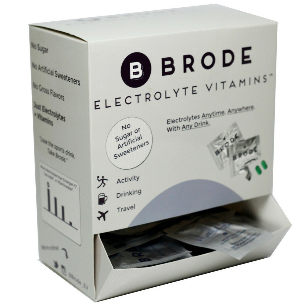 Brode Electrolyte Vitamin - Portable Zero-sugar Electrolyte Tablets - For Sports, Hangovers, Jet Lag, 5 Essential Electrolytes + 9 Vitamins 100-Pack