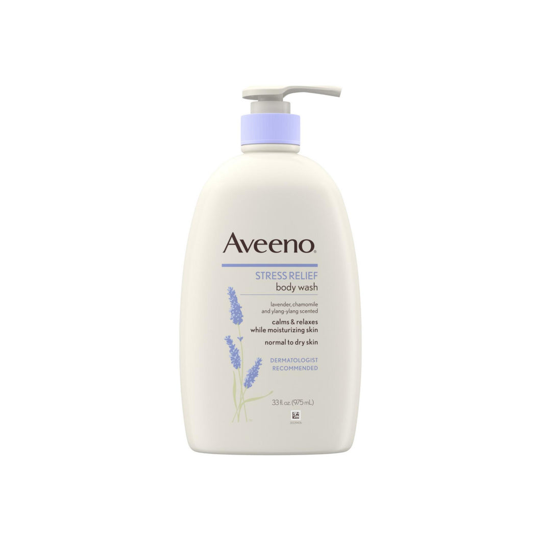 AVEENO Stress Relief Body Wash with Soothing Oat, Lavender, Chamomile & Ylang-Ylang Essential Oils & Soap-Free Calming Body Wash 33 oz