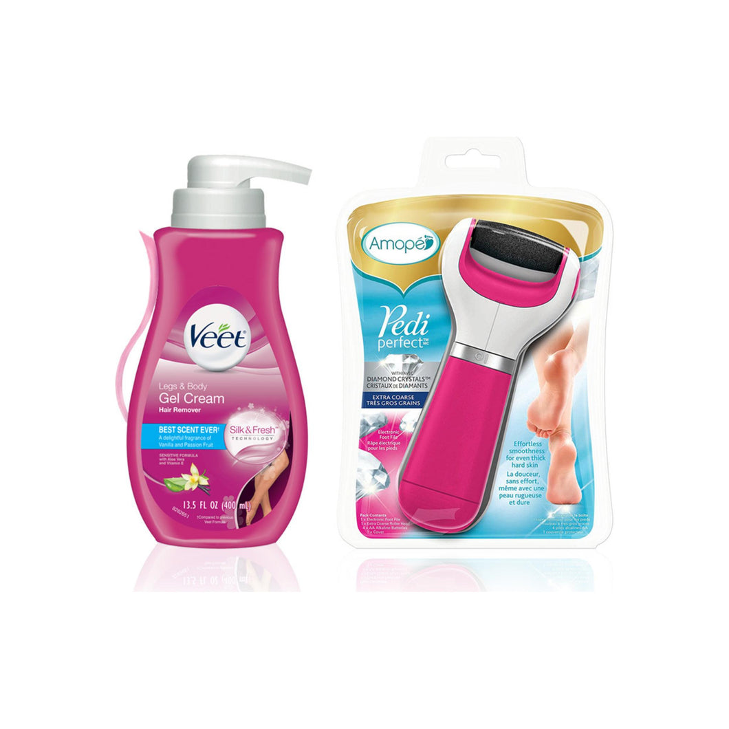 Amope Beauty Kit Amope Pedi Perfect Electronic Foot File (Extra Coarse) & Veet Gel Hair Remover Cream (13.5oz) 1 ea