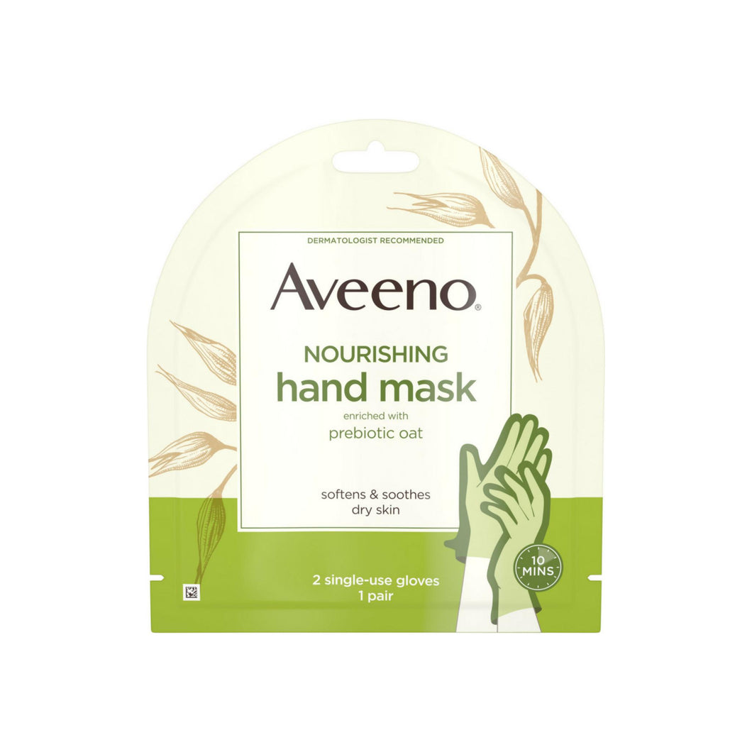 Aveeno  Nourishing Hand Therapy Mask Moisturizing formula with Prebiotic Oat for Dry Skin, Fragrance-Free and Paraben-Free, 2 Single-Use Gloves 1 ea