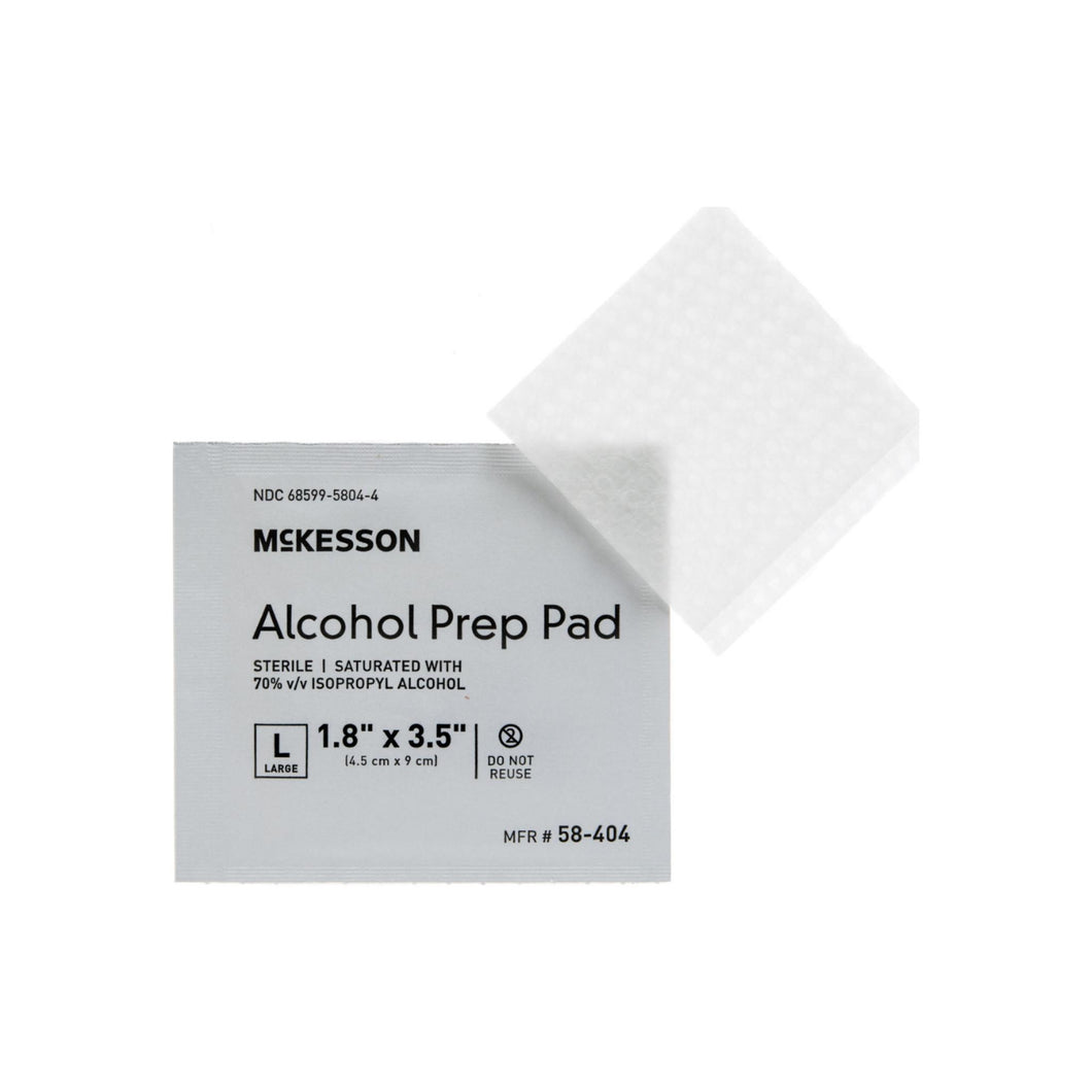 Alcohol Prep Pad McKesson Isopropyl Alcohol 70 Individual Packet Large 35 L X 17 H