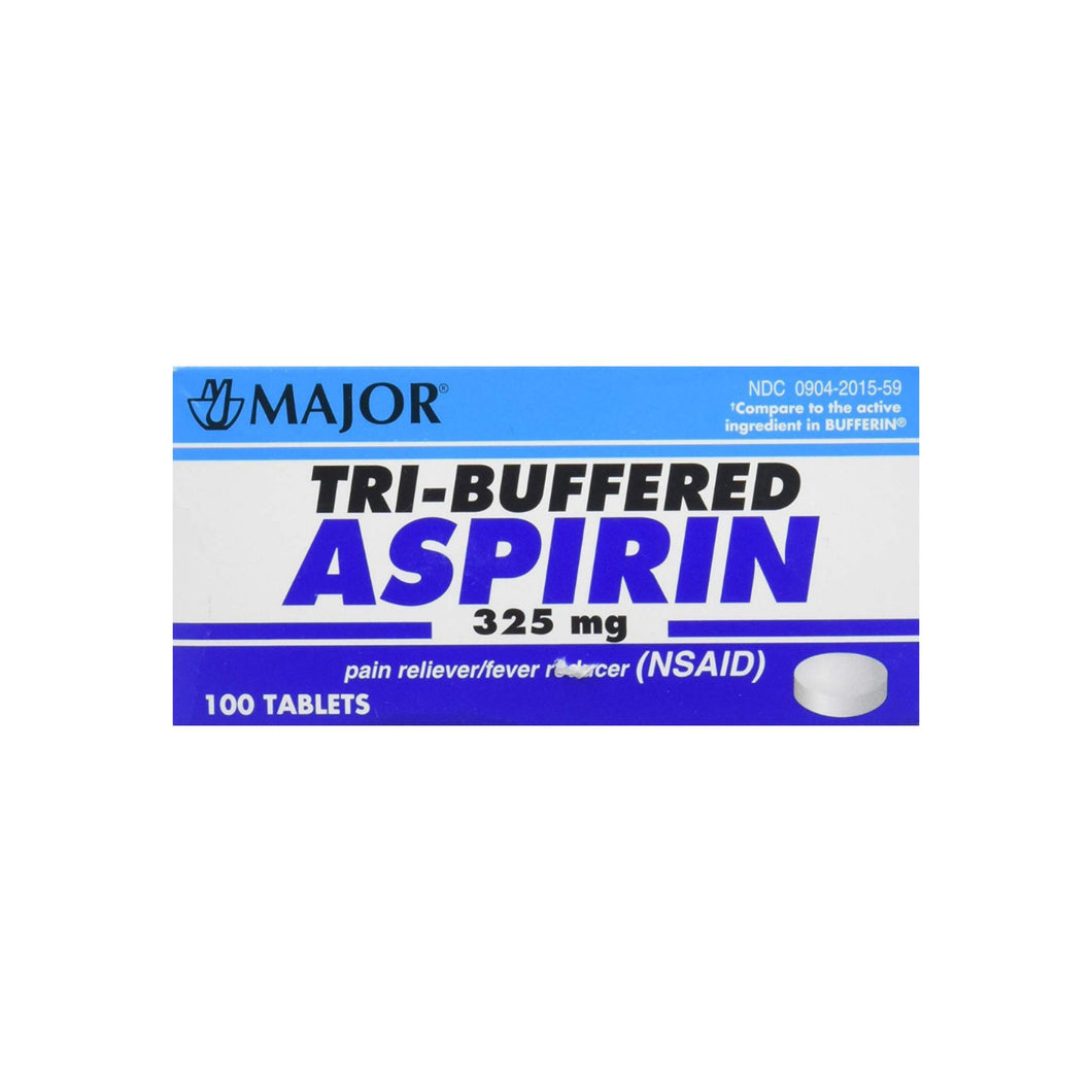 Tri Buffered Aspirin Tablets Generic for Bufferin 325 mg 100 Tablets 1 ea