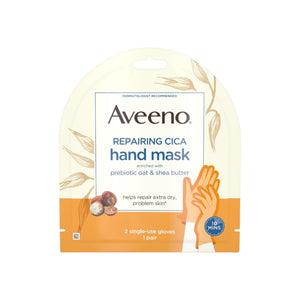AVEENO Repairing CICA Hand Mask with Prebiotic Oat and Shea Butter for Extra Dry Skin, Paraben-Free and Fragrance-Free 1 Pair