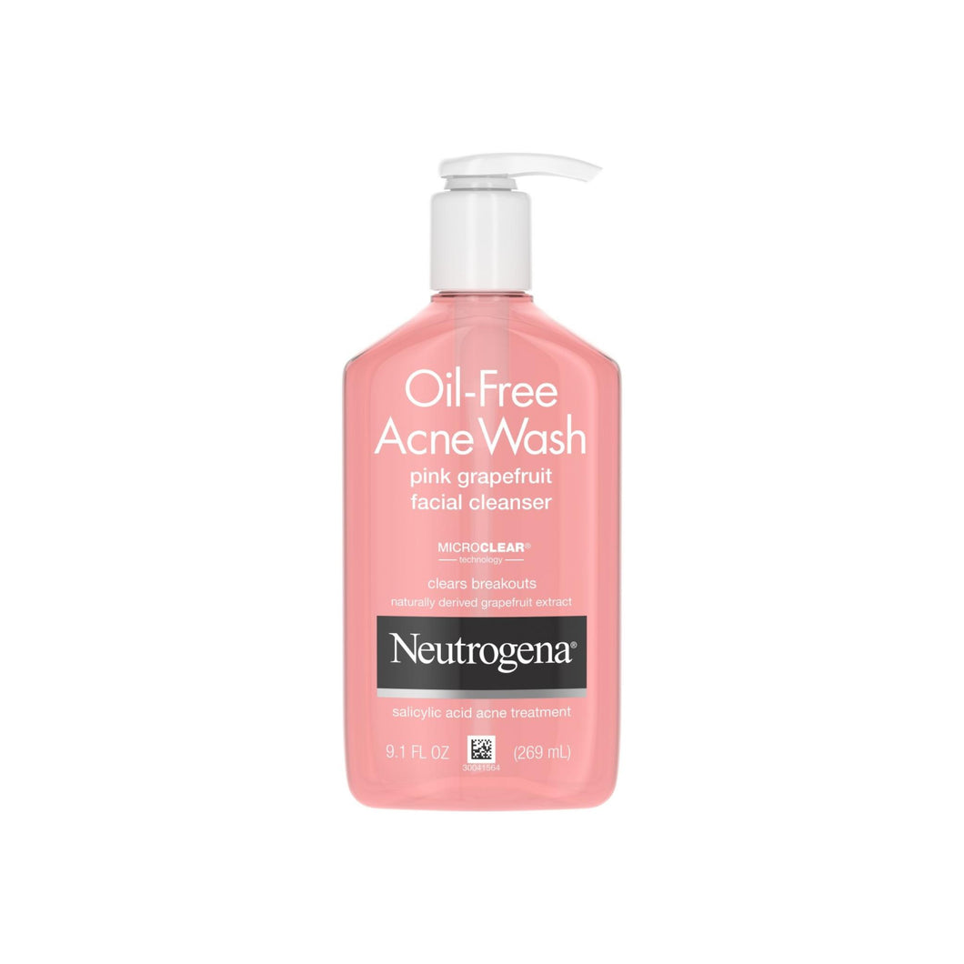 Neutrogena Oil-Free Salicylic Acid Pink Grapefruit Pore Cleansing Acne Wash and Facial Cleanser with Vitamin C 9.1 oz