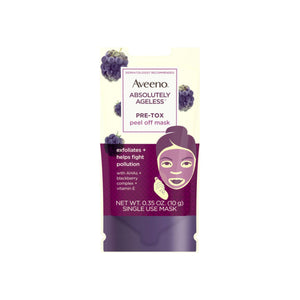 AVEENO Absolutely Ageless Pre-Tox Peel Off Antioxidant Face Mask with Alpha Hydroxy Acids, Vitamin E & Blackberry Complex, Non-Comedogenic 0.35  oz