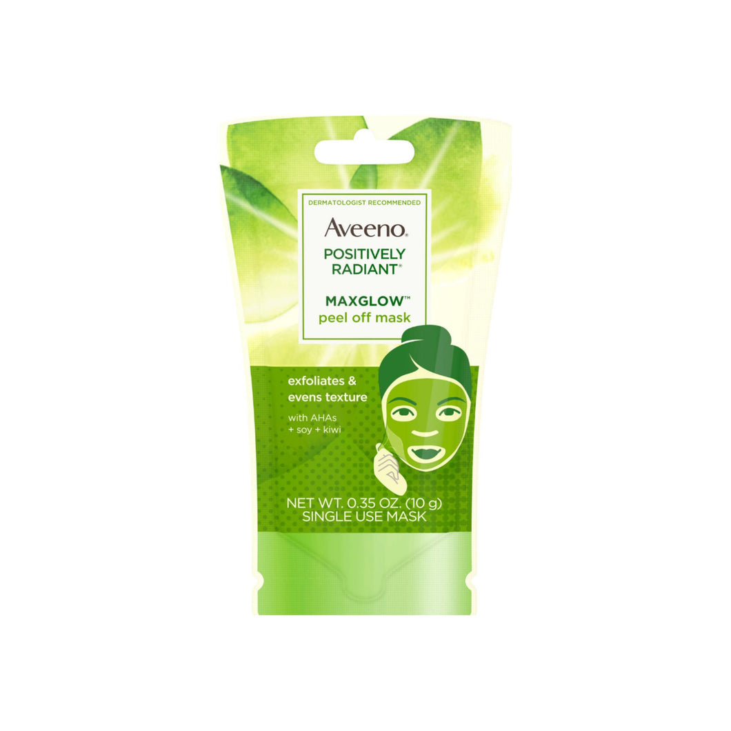 AVEENO Positively Radiant MaxGlow Peel Off Exfoliating Face Mask with Alpha Hydroxy Acids, Soy & Kiwi Complex for Even Tone & Texture .35 oz