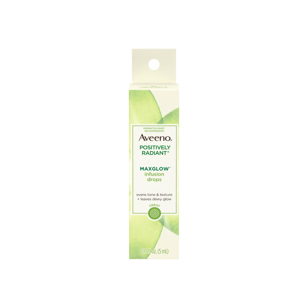 AVEENO Positively Radiant MaxGlow Infusion Drops with Moisture Rich Soy & Kiwi Complex, Moisturizing Facial Serum 0.17 oz
