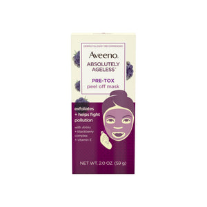 AVEENO Absolutely Ageless Pre-Tox Peel Off Antioxidant Face Mask with Alpha Hydroxy Acids, Vitamin E & Blackberry Complex, Non-Comedogenic 2  oz
