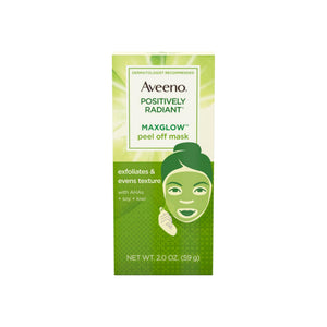AVEENO Positively Radiant MaxGlow Peel Off Exfoliating Face Mask with Alpha Hydroxy Acids, Moisture Rich Soy & Kiwi Complex  2  oz