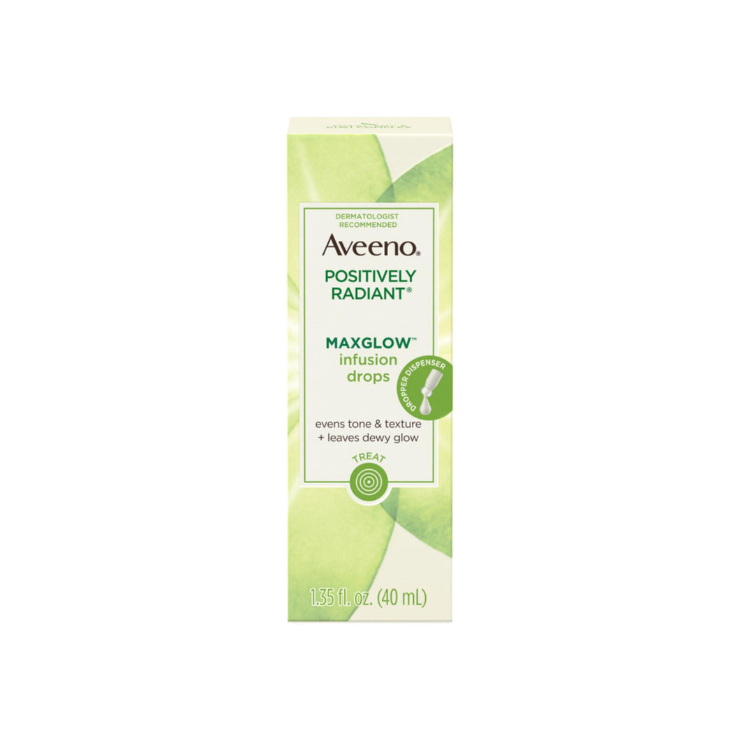AVEENO Positively Radiant MaxGlow Infusion Drops with Moisture Rich Soy & Kiwi Complex, Moisturizing Facial Serum 1.35 oz