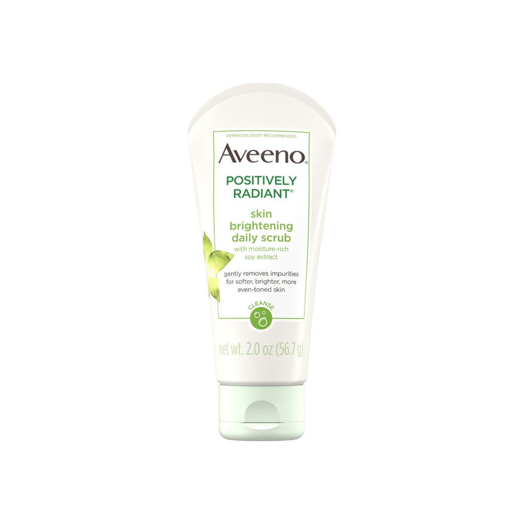 AVEENO Positively Radiant Skin Brightening Exfoliating Daily Facial Scrub with Moisture-Rich Soy Extract, Jojoba & Castor Oils Face Cleanser 2 oz