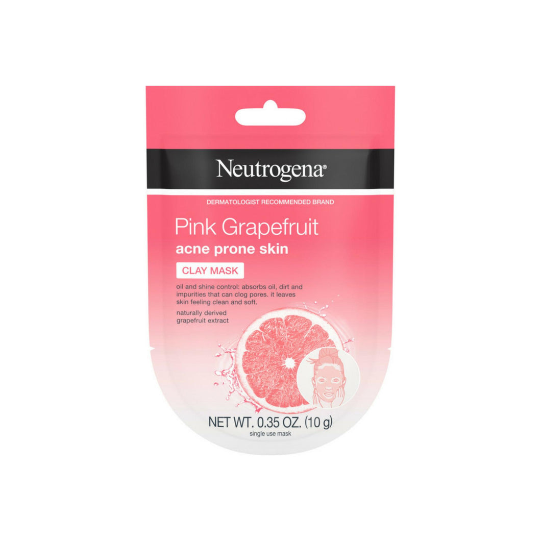Neutrogena Pink Grapefruit Clay Face Mask Acne Prone Skin Grapefruit Extract, Oil Control & Shine Control, Single-Use 0.35 oz