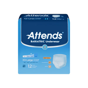 Adult Absorbent Underwear Attends Bariatric Pull On 2XLarge Disposable Moderate Absorbency - 12 ea