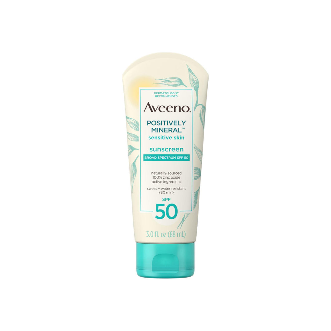 Aveeno Positively Mineral Sensitive Skin Daily Sunscreen Lotion with SPF 50 Sheer Sunscreen for Face & Body, TSA-Friendly Travel-Size 3 oz