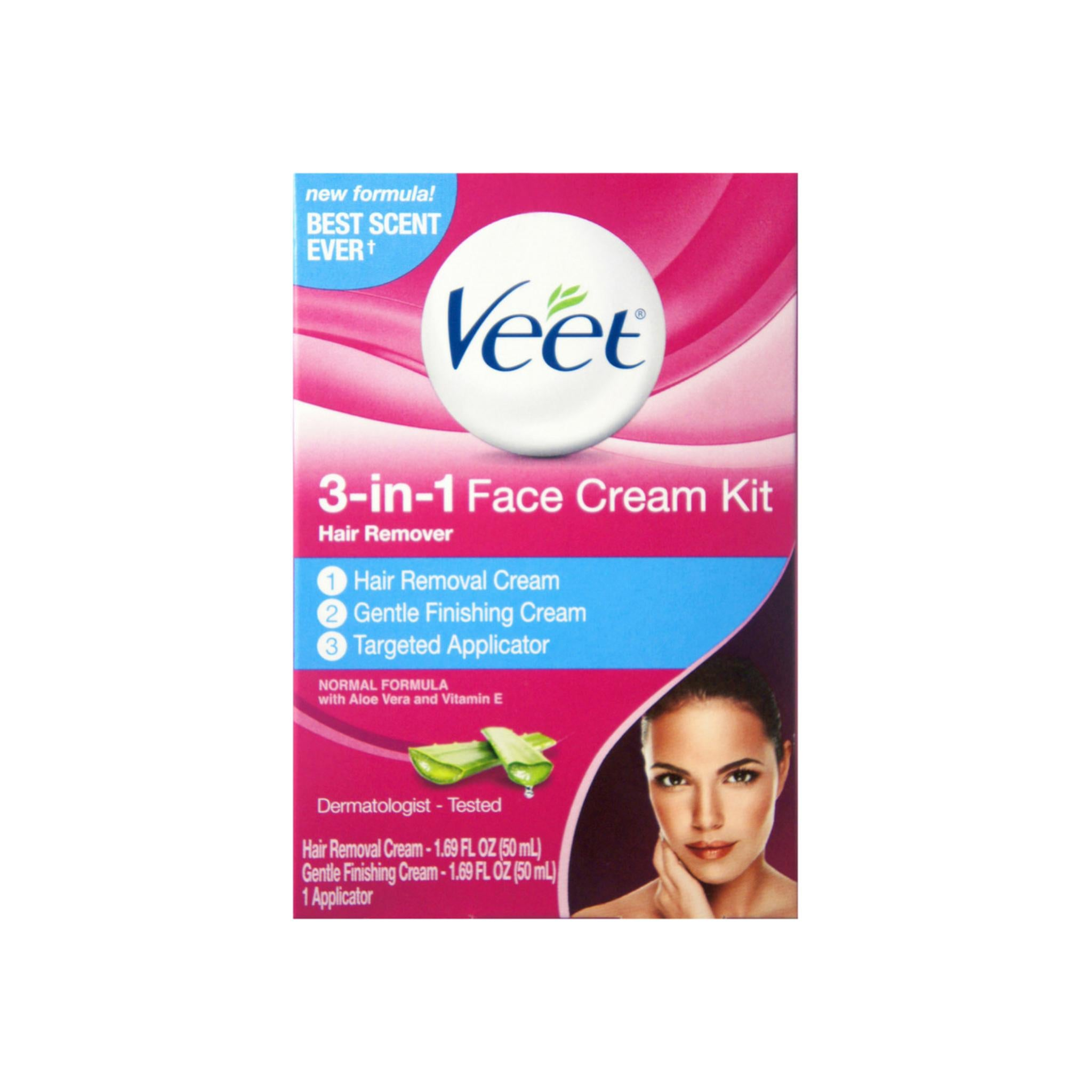 Veet 3 In 1 Face Cream Hair Remover Kit Normal Formula With Aloe