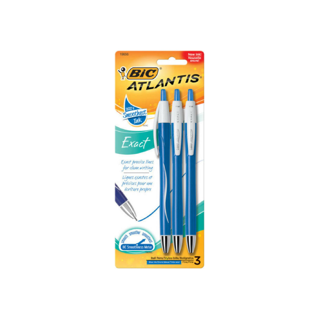 Bic Atlantis Exact Fine Point Retractable Ball Pen, Blue 3 ea